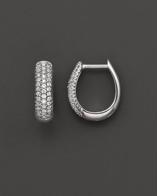 Bloomingdale's - Metallic Diamond Pavé Hoop Earrings In 14 Kt. White Gold, 0.25 Ct. T.w. - Lyst