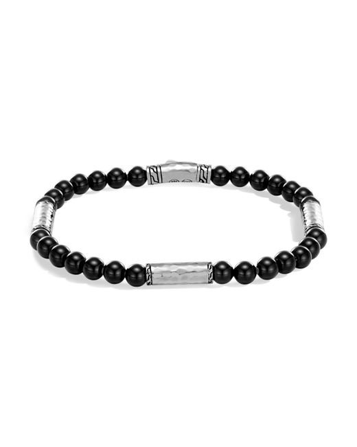 John Hardy - Metallic Men's Hammered Sterling Silver Classic Chain Station And Black Onyx Bead Bracelet for Men - Lyst