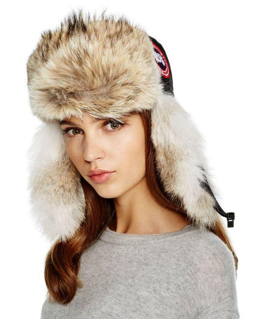 Canada Goose - Black Coyote Fur Aviator Hat - Lyst