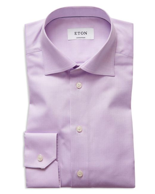 Eton of Sweden - Purple Herringbone Solid Regular Fit Dress Shirt for Men - Lyst