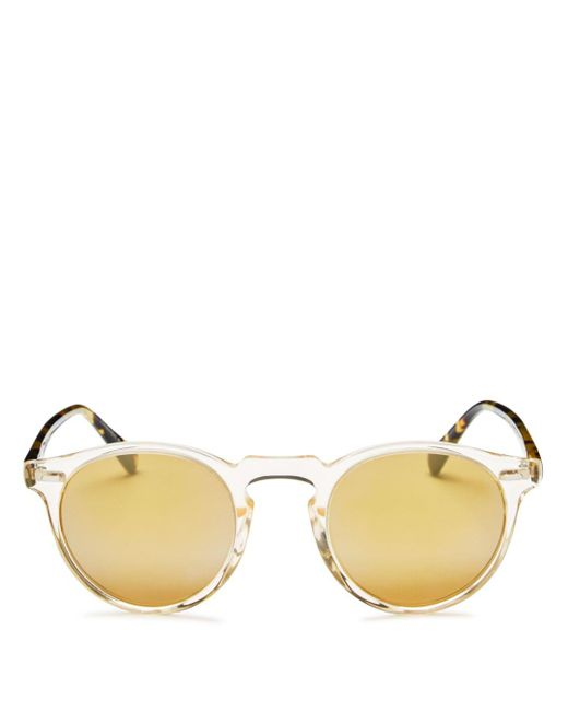 Oliver Peoples - Yellow Men's Gregory Peck Mirrored Round Sunglasses for Men - Lyst