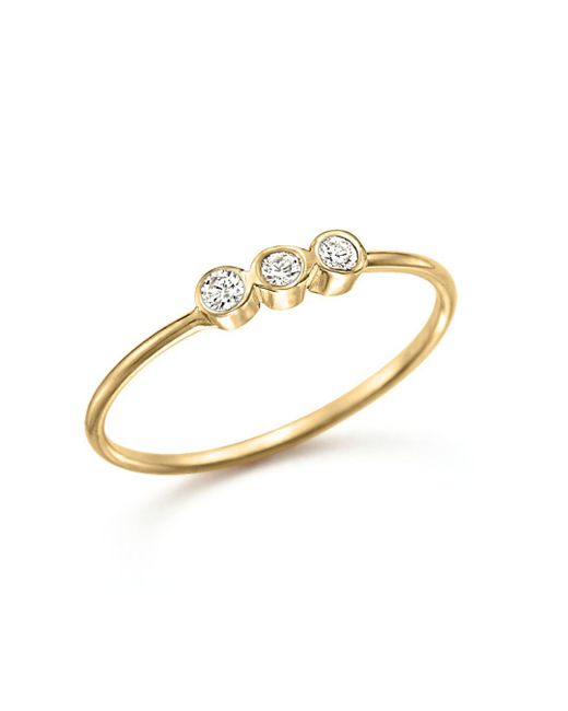 Zoe Chicco - 14k Yellow Gold And Diamond Bezel-set Ring - Lyst