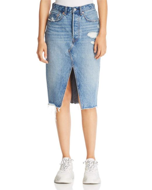 Levi's - Blue Deconstructed Denim Skirt In Original Sinner - Lyst