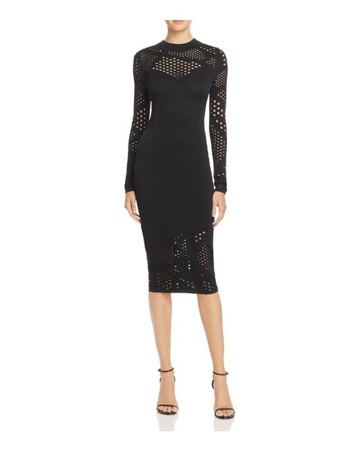 MILLY | Black Fractured Pointelle Dress | Lyst