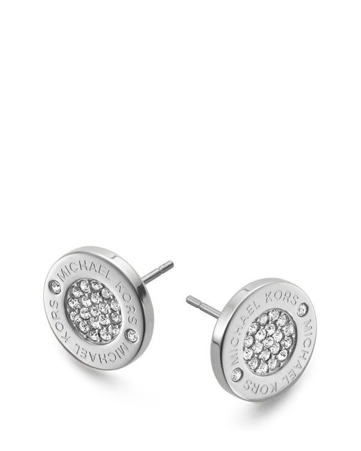 Michael Kors | Metallic Pavé Logo Stud Earrings | Lyst
