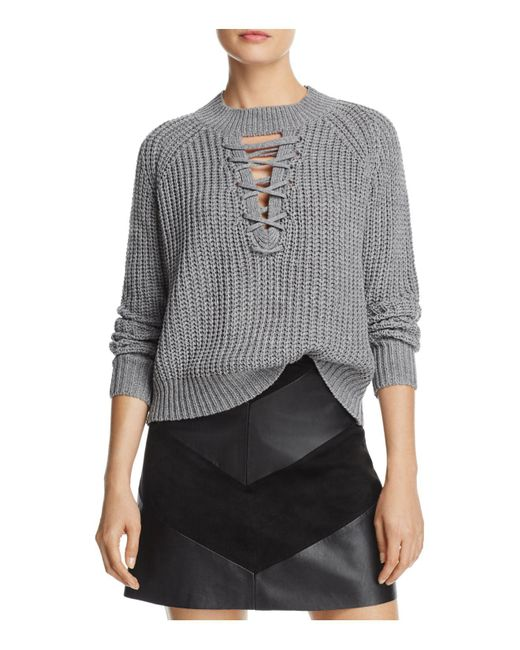 PPLA | Gray Tanner Lace-up Sweater | Lyst