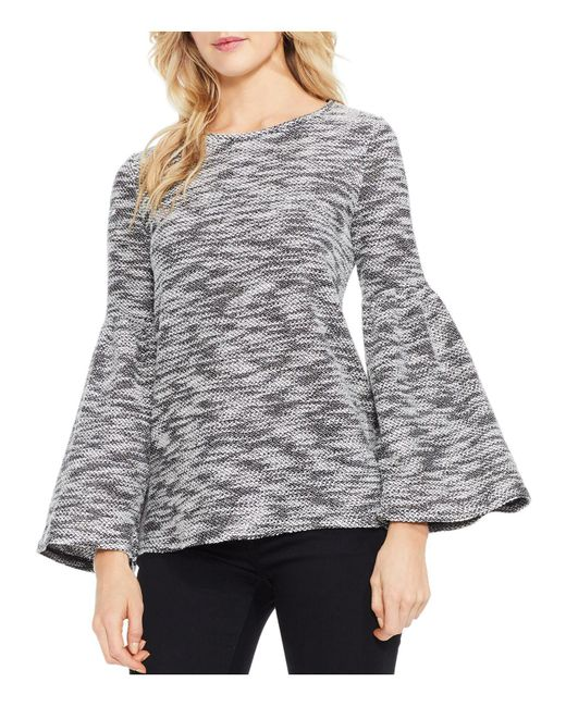 Vince Camuto | Black Bell Sleeve Space-dyed Slub Knit Top | Lyst