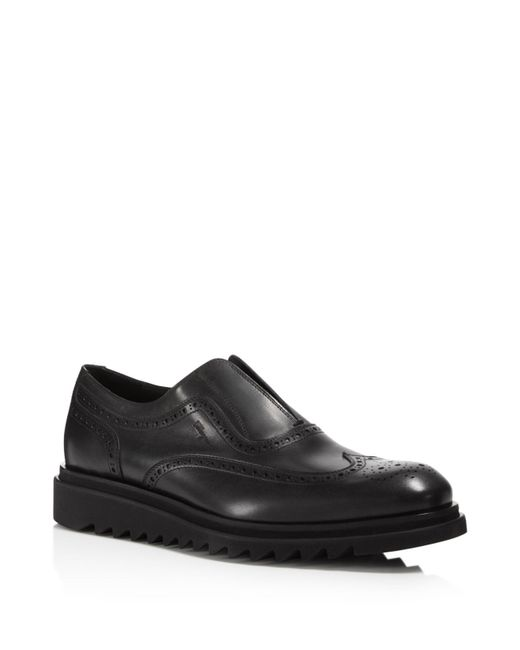 Ferragamo - Gray Men's Carl Wingtip Calfskin Loafers for Men - Lyst