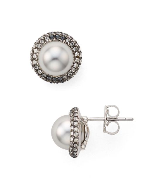 Nadri | Gray Framed Button Earrings | Lyst