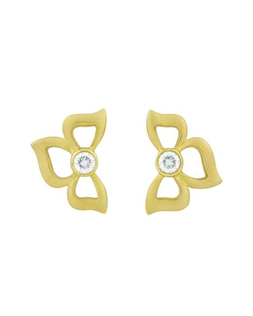Carelle - Metallic Diamond Florette Earrings In 18k Yellow Gold - Lyst