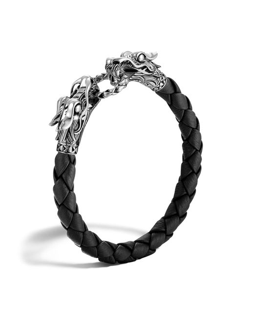 John Hardy - Men's Naga Silver Black Woven Leather Dragon Bracelet - Lyst