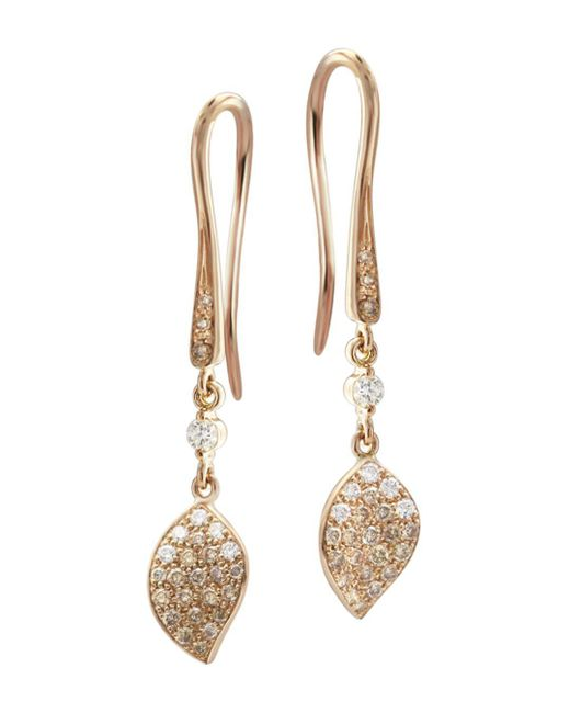 Pasquale Bruni - Metallic 18k Rose Gold Secret Garden Petal Pavé Diamond Drop Earrings - Lyst