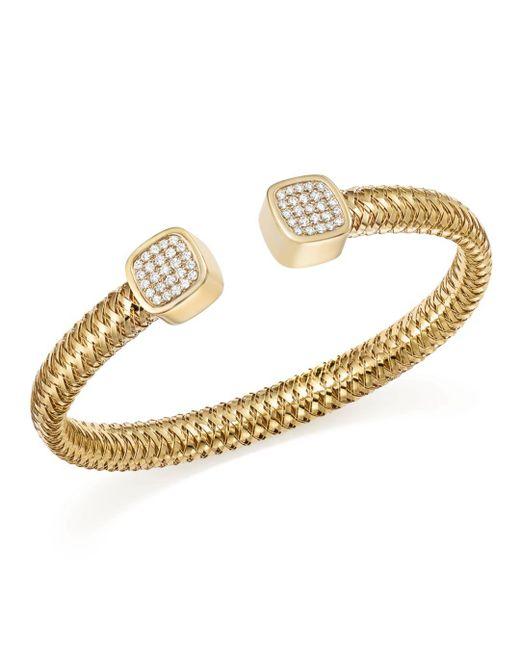 Roberto Coin - Metallic 18k Yellow Gold Primavera Diamond Capped Cuff - Lyst