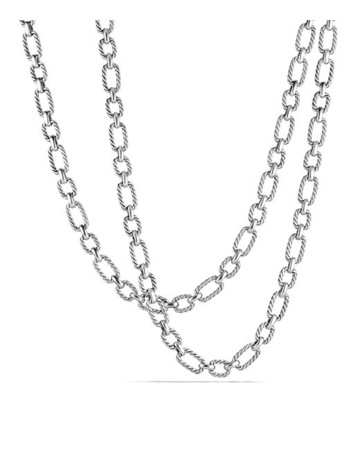 David Yurman | Metallic Chain Cushion Link Necklace With Blue Sapphire In Sterling Silver | Lyst
