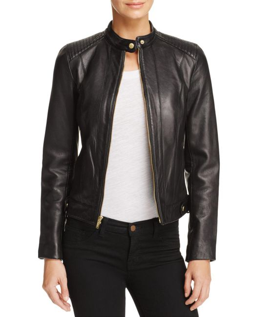 Cole Haan - Black Leather Zip Jacket - Lyst