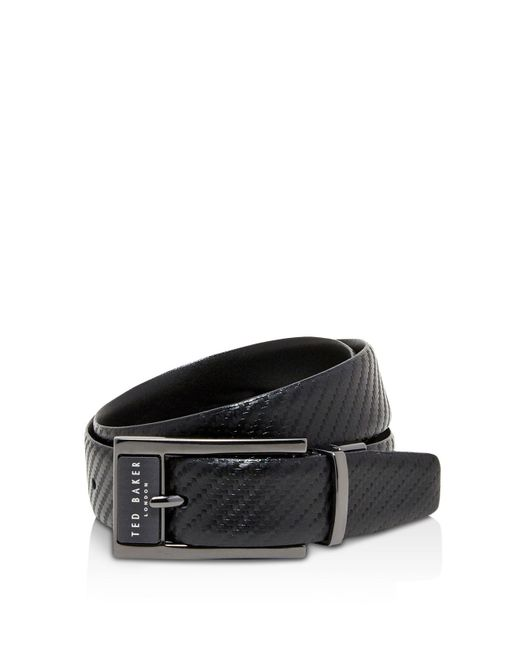 Ted Baker | Black Hibisis Reversible Slate Plate Belt for Men | Lyst