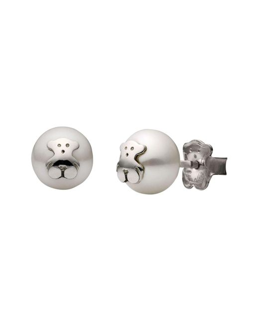 Tous - White Bear Stud Earrings - Lyst