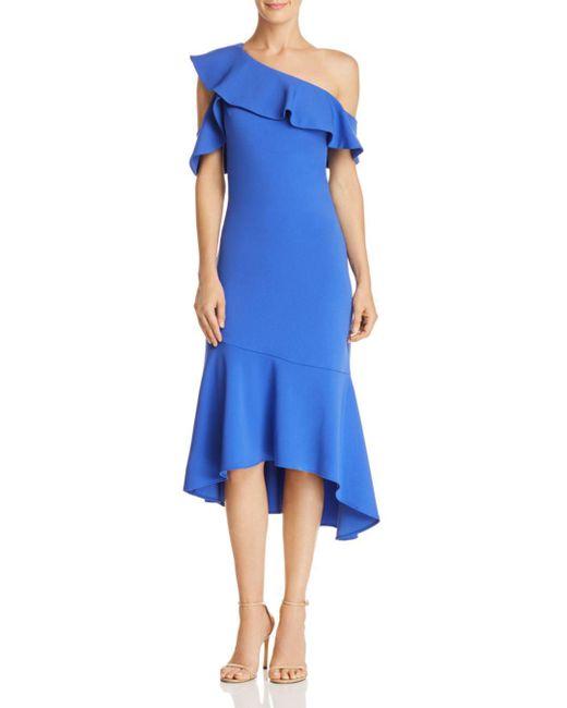 Laundry by Shelli Segal - Blue One-shoulder Ruffle-trim Dress - Lyst