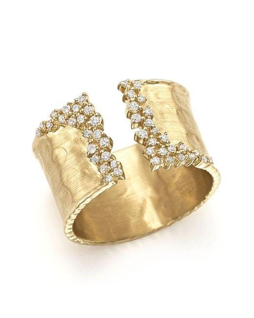 Bloomingdale's - Metallic Diamond Cuff Ring In 14k Yellow Gold, .30 Ct. T.w. - Lyst