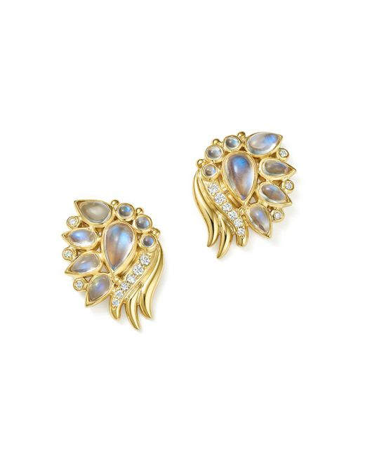 Temple St. Clair - Metallic 18k Yellow Gold Diamond And Royal Blue Moonstone Wing Earrings - Lyst