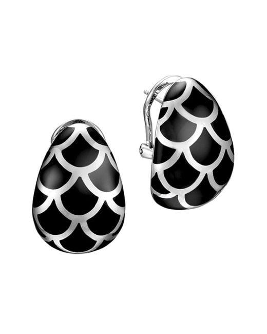 John Hardy - Metallic Naga Sterling Silver And Black Enamel Buddha Belly Earrings - Lyst