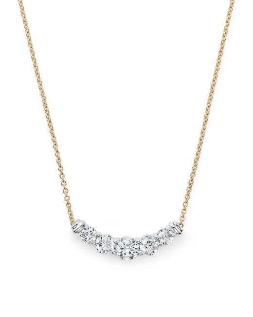 Bloomingdale's - Metallic Diamond Graduated Pendant Necklace In 14k Yellow Gold, .50 Ct. T.w. - Lyst