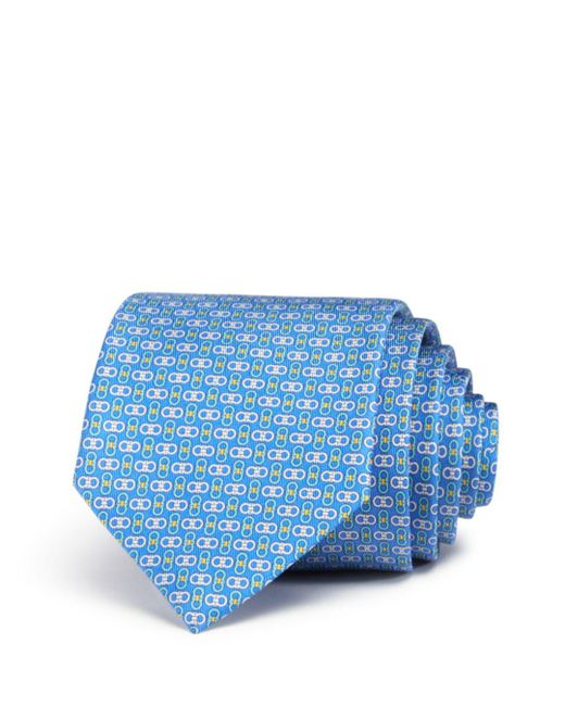 Ferragamo - Blue Enne Mini Linked-gancini Silk Classic Tie for Men - Lyst