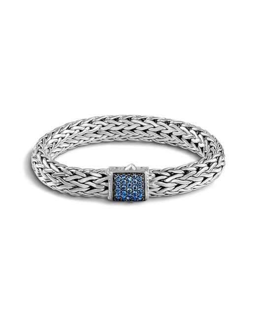 John Hardy | Classic Chain Sterling Silver Lava Large Bracelet With Blue Sapphire | Lyst