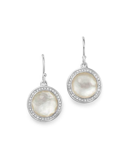 Ippolita - Metallic Sterling Silver Lollipop Diamond & Mother-of-pearl Doublet Drop Earrings - Lyst