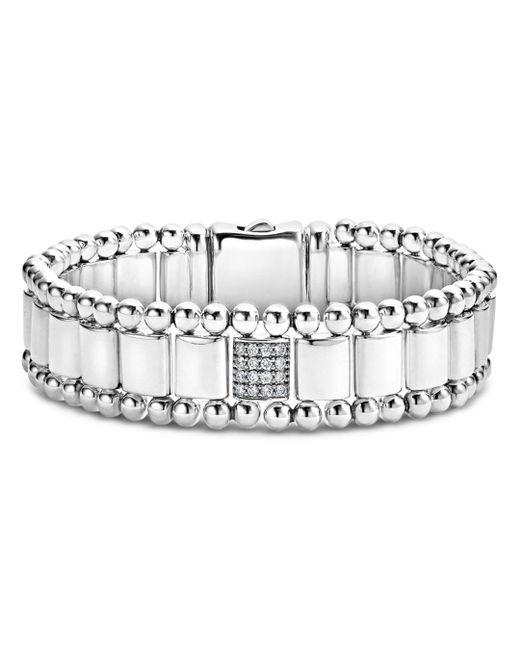 Lagos - Metallic Sterling Silver Caviar Spark Pavé Diamond Station Link Bracelet - Lyst