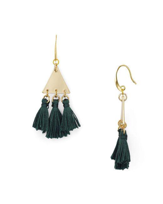 Rebecca Minkoff | Green Tri-tassel Chandelier Earrings | Lyst