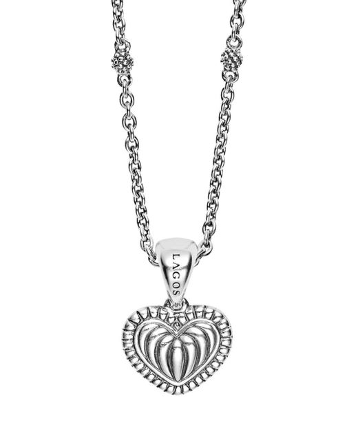 Lagos - Metallic Sterling Silver Signature Caviar Fluted Heart Pendant Chain Necklace - Lyst