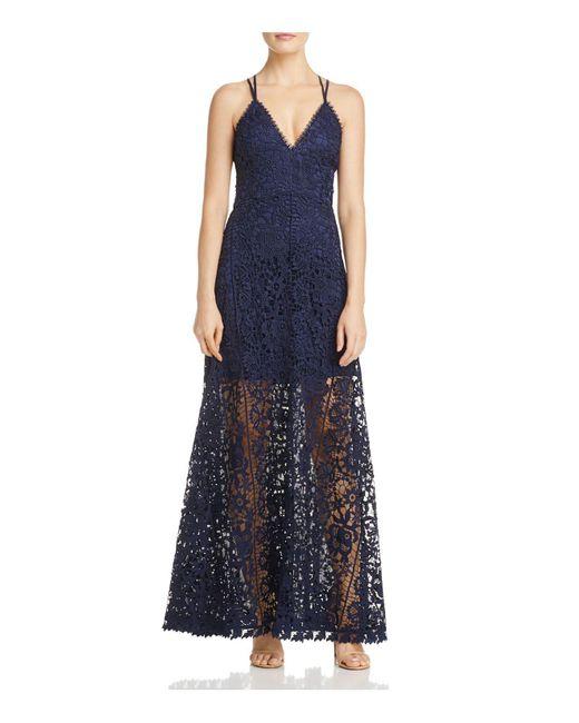 Aqua | Blue Crisscross Lace Maxi Dress | Lyst