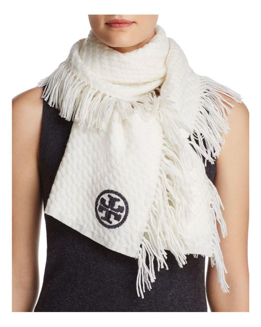 Tory Burch | White Textured Jacquard Oblong Scarf | Lyst