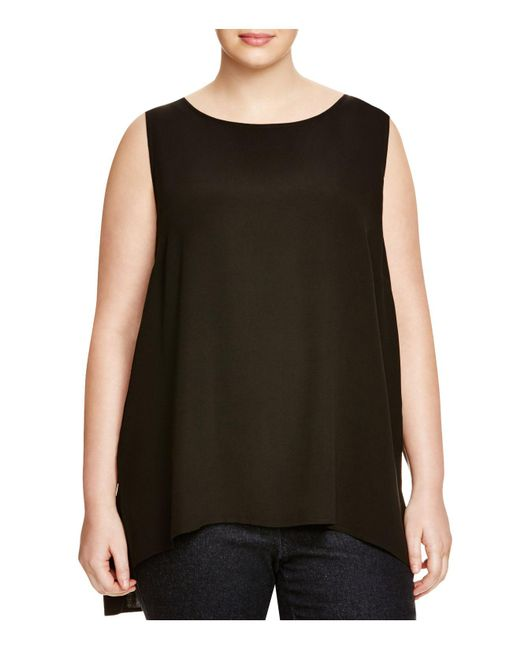 Eileen Fisher - Black System Silk Tank - Lyst