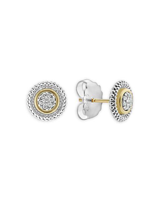 Lagos - Metallic 18k Gold And Sterling Silver Signature Caviar Diamond Stud Earrings - Lyst