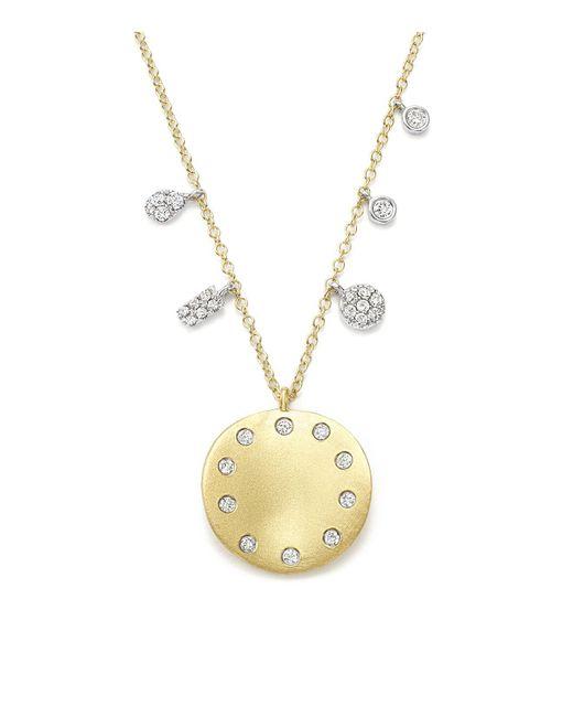 Meira T | Metallic Light Amazonite, Diamond, 14k Rose Gold & 14k White Gold Pendant Necklace | Lyst