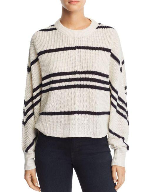 Aqua - White Striped Dolman - Sleeve Sweater - Lyst
