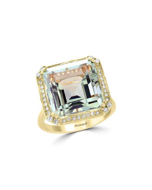 Bloomingdale's - Metallic Green Amethyst & Diamond Statement Ring In 14k Yellow Gold - Lyst