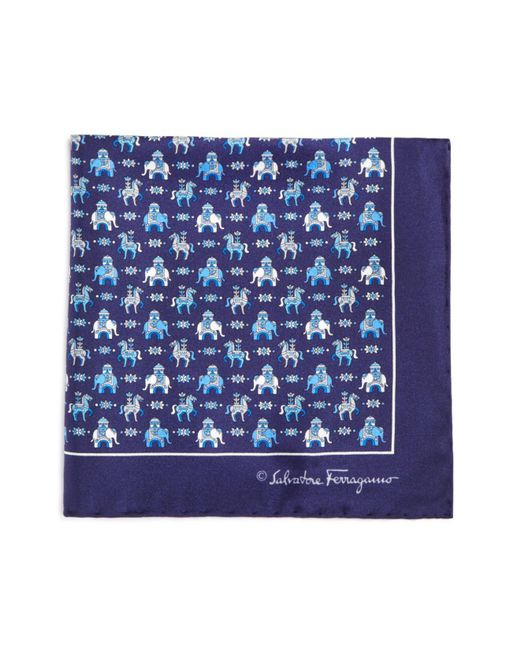 Ferragamo | Blue Regal Elephant And Horse Pocket Square for Men | Lyst
