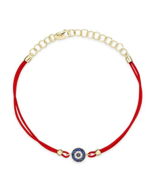 Meira T - Red Blue Sapphire And 14k Yellow Gold Evil Eye Bracelet - Lyst