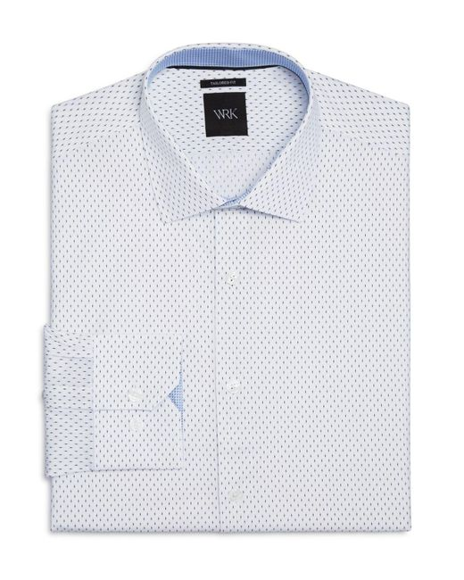 W.r.k. | White Matchstick Print Slim Fit Dress Shirt for Men | Lyst