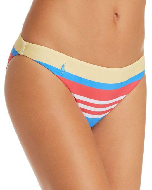 Ralph Lauren - Blue Polo Engineered Stripe Retro Bikini Bottom - Lyst