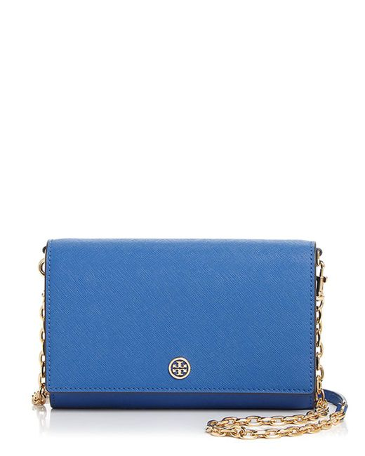 Tory Burch - Blue Robinson Leather Chain Wallet - Lyst