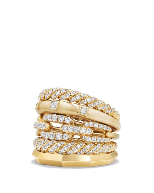 David Yurman - Metallic Stax Five Row Ring With Diamonds In 18k Gold - Lyst