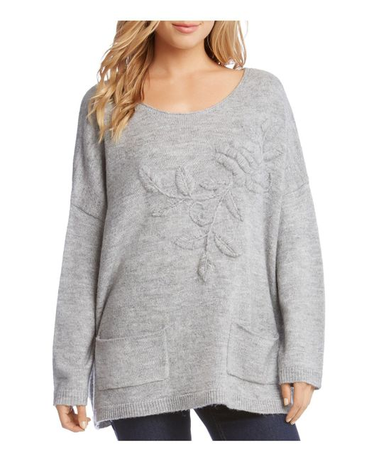 Karen Kane | Gray Floral Embroidered Oversize Sweater | Lyst
