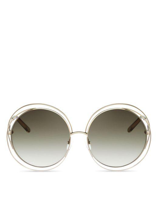 Chloé - Gray Carlina Round-frame Sunglasses - Lyst