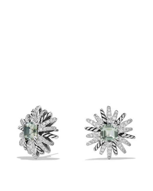 David Yurman - Green Starburst Earrings With Diamonds And Prasiolite In Silver - Lyst