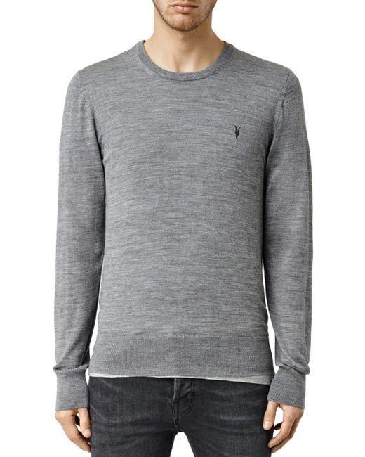AllSaints - Gray Mode Merino Sweater for Men - Lyst