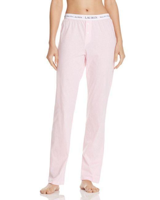 Ralph Lauren - Pink Lauren Rib Essentials Pajama Pants - Lyst